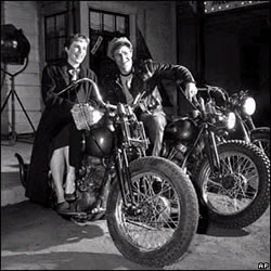 "Marlon Brando and his sister Jocelyn, who was visiting him on the set of ""The Wild One,"" 1953"