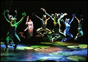 "The chorus of frogs in Lincoln Center Theater's production of ""The Frogs"""