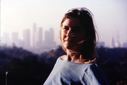 Heather Woodbury overlooking Dodger's Stadium, 2001. Photo: Nick Amato