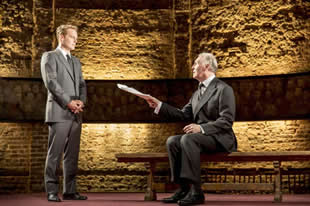 "Adam Jones and Tim Pigott-Smith in Mike Barlett's ""King Charles III"" dir. by Rupert Gould"