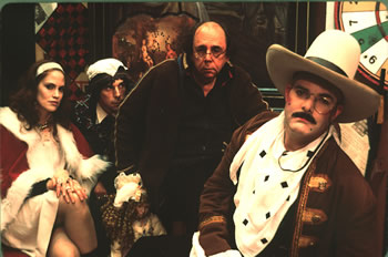 Juliana Francis, T. Ryder Smith, Richard Foreman, and Jay Smith on the set of King Cowboy Rufus Rules the Universe