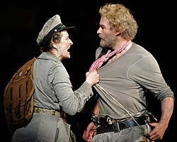 "Meryl Streep (Mother Courage) and Kevin Kline (The Cook) in Brecht's ""Mother Courage,"" Delacorte Theater, NYC 2006"
