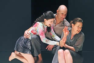 "Phoebe Fox (Catherine), Mark Strong (Eddie), Nicola Walker (Beatrice) in Ivo van Hove's production of ""A View from the Bridge"" at The Young Vic. Photo: Marilyn Kingwill"
